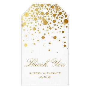 Faux Gold Foil Confetti Dots Wedding Thank You Gift Tags