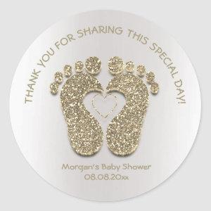 Faux Gold Heart Feet Baby Shower Favor Thank You Classic Round Sticker