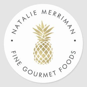 Faux Gold Pineapple Classic Round Sticker
