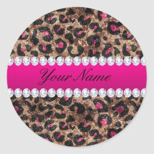 Faux Leopard Hot Pink Rose Gold Foil and Diamonds Classic Round Sticker