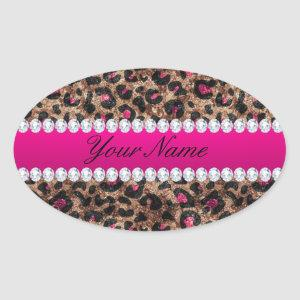 Faux Leopard Hot Pink Rose Gold Foil and Diamonds Oval Sticker