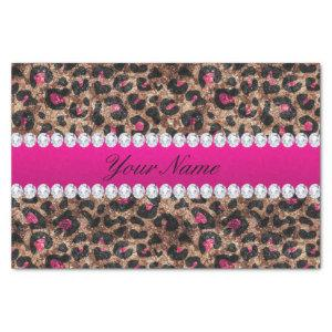 Faux Leopard Hot Pink Rose Gold Foil and Diamonds Tissue Paper