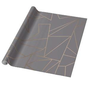 Faux rose gold elegant modern minimalist geometric wrapping paper