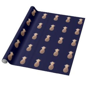 Faux Rose Gold Pineapple on Navy Blue Wrapping Paper
