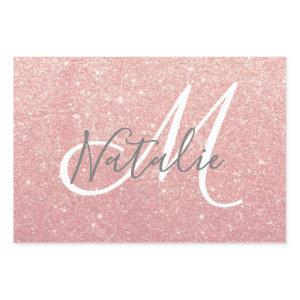 Faux Rose Pink Gold Glitter Monogram Name Wrapping Paper Sheets
