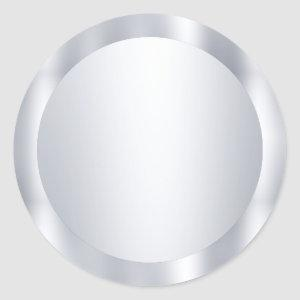 Faux Silver Blank Modern Template Add Your Text Classic Round Sticker