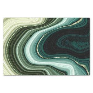 Faux Stone Abstract Green and Blue Earth Tones Tissue Paper