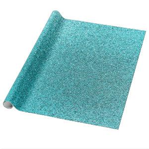 Faux Teal Blue Glitter Background Sparkle Texture Wrapping Paper