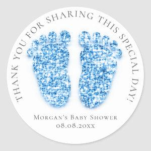 Feet Baby Shower Favor Thank Glitter Royal Blue Classic Round Sticker