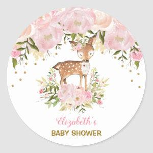 Feminine Deer Baby Shower Blush Pink Floral Favors Classic Round Sticker