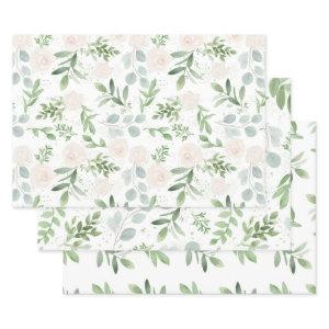 Feminine Eucalyptus & Blush Wrapping Paper Sheets