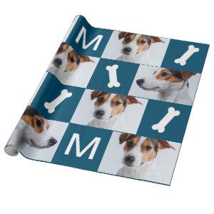 Festive Blue Dog Bones Photo Collage Christmas Wrapping Paper