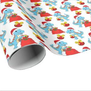 Festive Christmas dinosaur tiled party wrap Wrapping Paper
