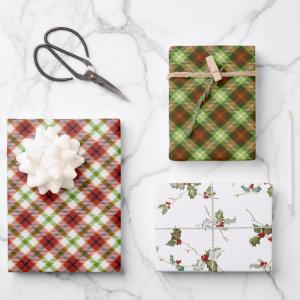 Festive Christmas Red & Green Plaid w/Holly Wrapping Paper Sheets