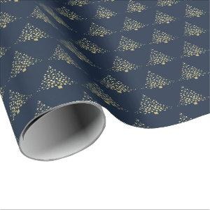 Festive Gold Christmas Trees Navy Blue Wrapping Paper