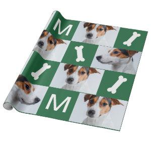 Festive Green Dog Bones Photo Collage Christmas Wrapping Paper