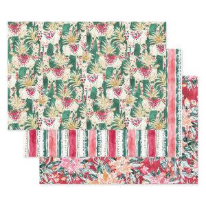 FESTIVE HOLIDAY Poinsettia Stripe Red Green Wrapping Paper Sheets