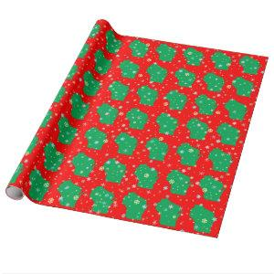 Festive Map of Wisconsin Green on Red Snowflakes Wrapping Paper