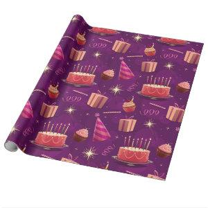 Festive Purple Birthday Wrapping Paper
