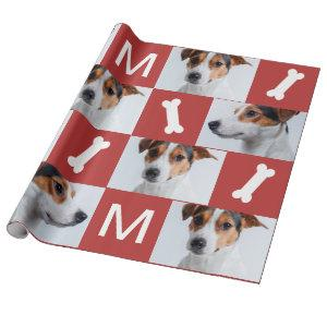 Festive Red Dog Bones Photo Collage Christmas Wrapping Paper