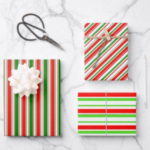 Festive Red, White, Green Colored Lined Patterns Wrapping Paper Sheets