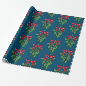Festive Teal and Red Mistletoe Pattern Christmas