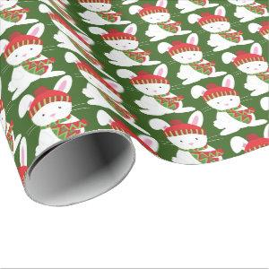 Festive Woodland Christmas bunny party wrap Wrapping Paper