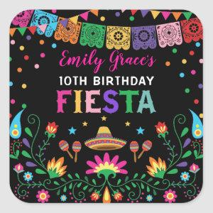 Fiesta Birthday Party Mexican Floral Pattern Square Sticker