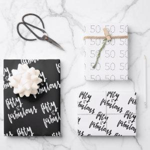Fifty & Fabulous - Fun 50th Birthday Wrapping Paper Sheets