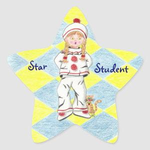 Fille en Pierrot  with background star sticker