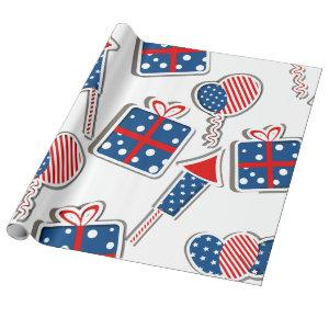 Fireworks and Presents Pattern Wrapping Paper