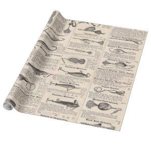 Fishing Newsprint Vintage Advertisement Wrapping Paper