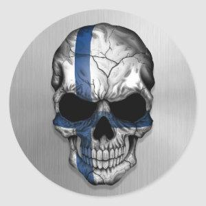 Flag of Finland on a Steel Skull Graphic Classic Round Sticker