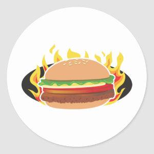 Flaming Hamburger Classic Round Sticker