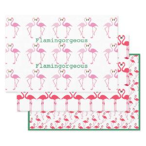 Flamingo Pink Green Custom Typography 3-piece Wrapping Paper Sheets