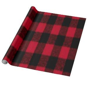 Flannel Buffalo Plaid Red lumberjack texture Wrapping Paper