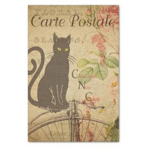 Floral Black Cat Decoupage Vintage Tissue Paper