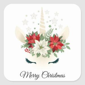 Floral Christmas Unicorn | Merry Christmas Square Sticker