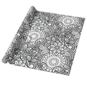 Floral  Coloring Black and White Wrapping Paper