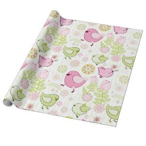 Floral Easter Chicks Wrapping Paper