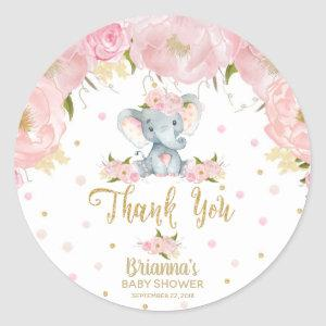 Floral Elephant Baby Shower Thank You Classic Round Sticker