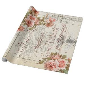 Floral Ephemera Decoupage Poster Wrapping Paper