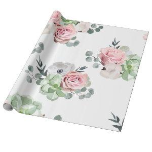 Floral Eucalyptus Succulent Wedding Wrapping Paper