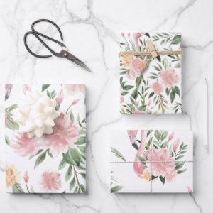Floral Flamingo Pattern Wrapping Paper Sheets