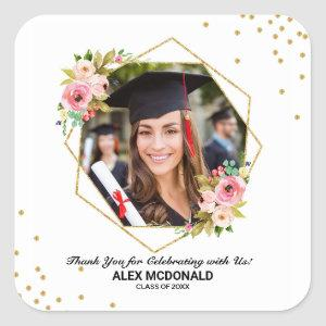 Floral Gold Geometric Graduation Thank You Favor Square Sticker