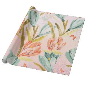Floral Mint Glass Pearly Pink Pastel Shiny Wrap Wrapping Paper