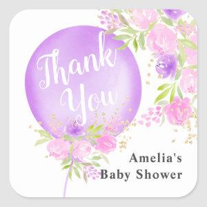 Floral purple balloon thank you baby shower square sticker