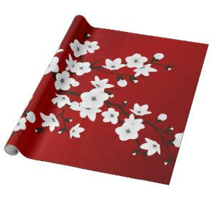 Floral Red And White Cherry Blossom Wrapping Paper