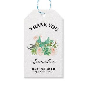 Floral Succulent Cactus Fiesta Baby Shower Gift Tags