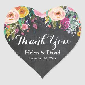 Floral Thank You Wedding Favour Stickers